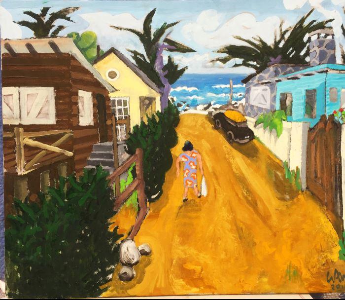 Calle de El Quisco Oleo tela 64x85cm