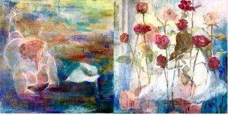 Diptico mujer y cala/rosas