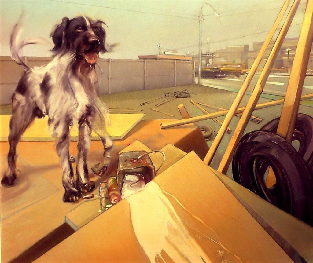 Perro de la calle con salpicadura
