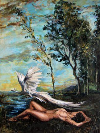 Desnudo con pavo real albino