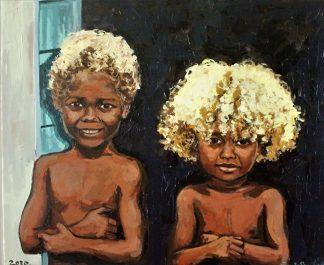 Niños indígenas de las islas Salomón
