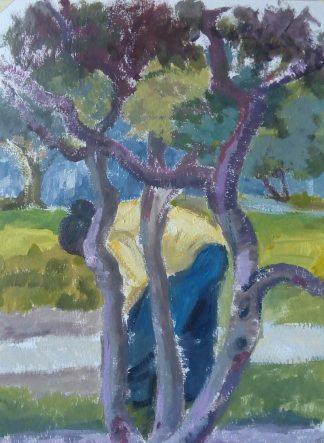 Mujer trabajando en el parque